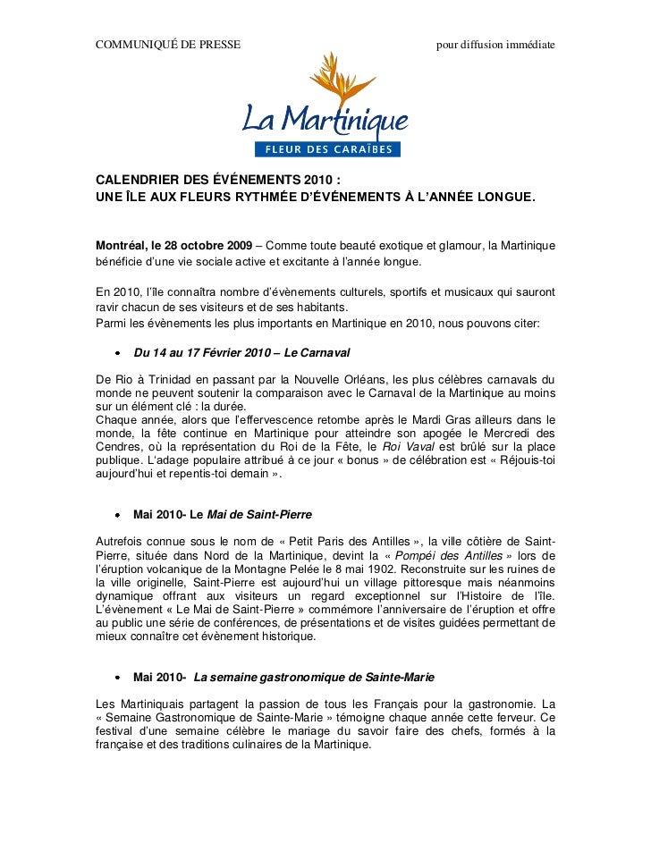 COMMUNIQUÉ DE PRESSE                                             pour diffusion immédiateCALENDRIER DES ÉVÉNEMENTS 2010 :U...