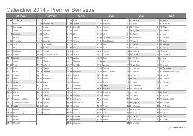 Calendrier Prenoms.Calendrier 2014 Semestriel Avec Fetes Des Prenoms