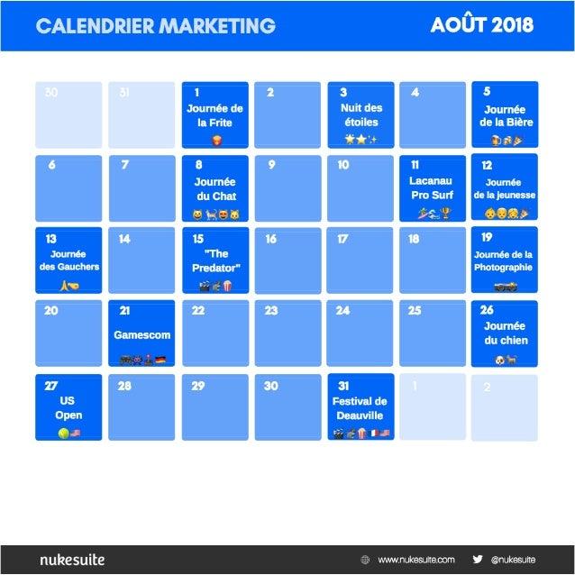 Calendrier Marketing NukeSuite - Juillet Août Septembre 2018