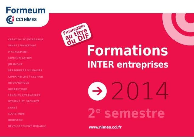Formations INTER entreprises 2014 création d'entreprise vente/marketing management communication juridique ressources hu...