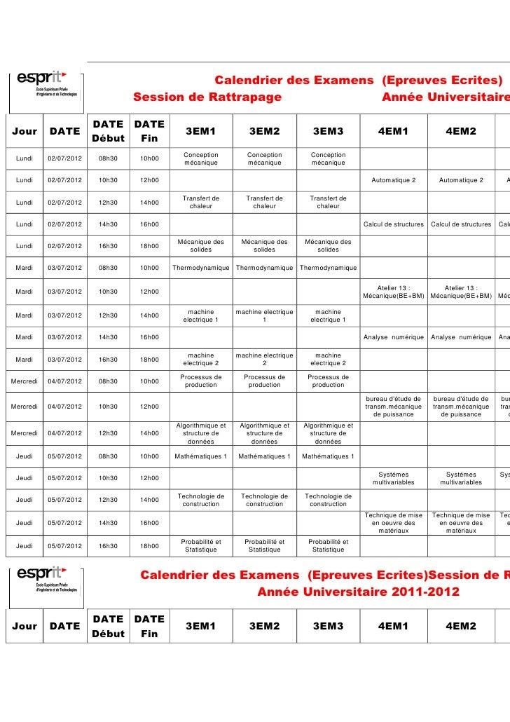 Calendrier des Examens (Epreuves Ecrites)                                Session de Rattrapage              Année Universi...