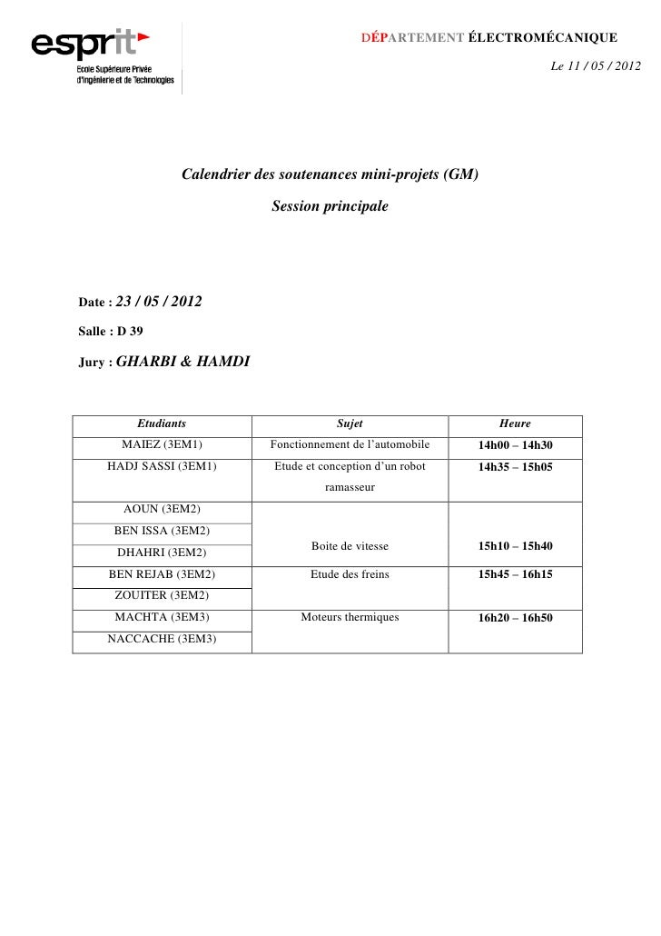 DÉPARTEMENT ÉLECTROMÉCANIQUE                                                                            Le 11 / 05 / 2012 ...