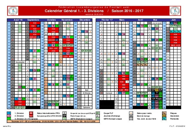 Calendrier General 1 3 Divisions 2016 2017