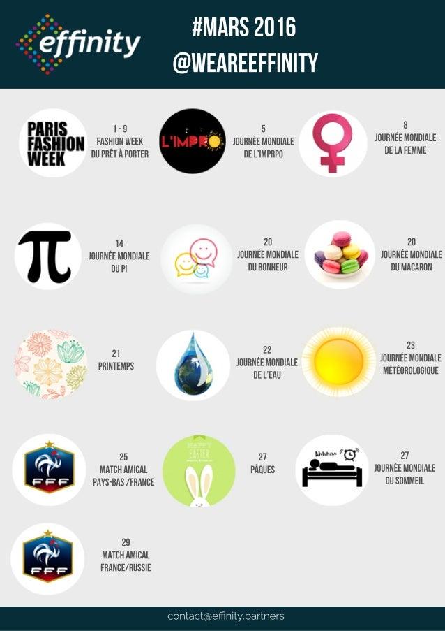 contact@effinity.partners #MARS2016 @WEAREEFFINITY 1-9 fashionweek duprêtàporter 14 JOURNéemondiale dupi 20 JOURNéemondiale ...