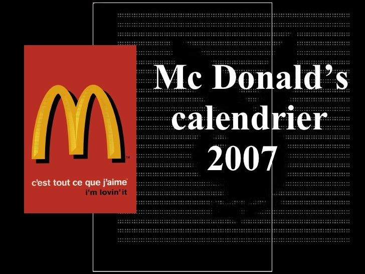 Mc Donald's calendrier 2007