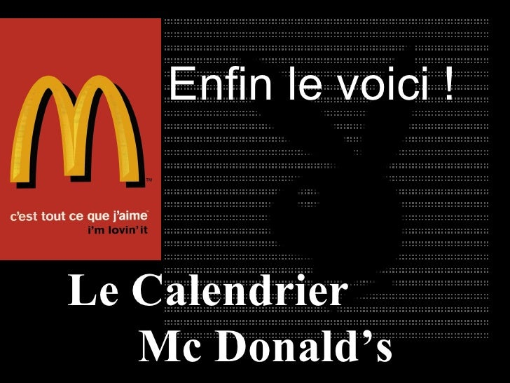 Le Calendrier  Mc Donald's  2010 Enfin le voici !