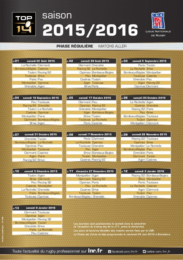 Calendrier Top 14 Rugby.Calendrier Top 14 2015 2016