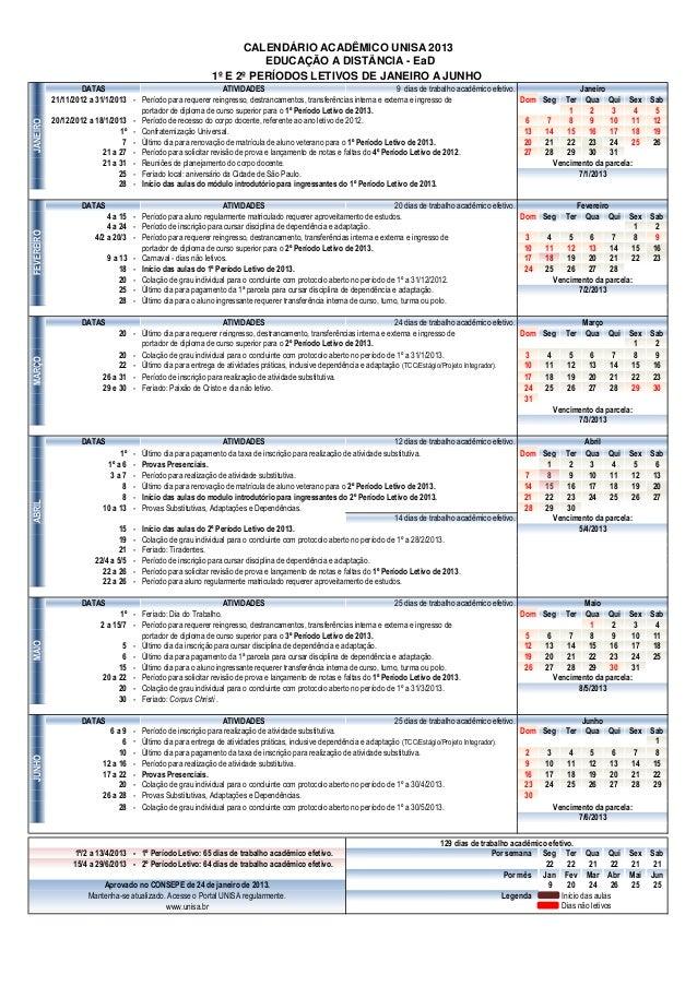 Calendario Unisa.Calendario Ea D 2013 Consepe 24jan2013