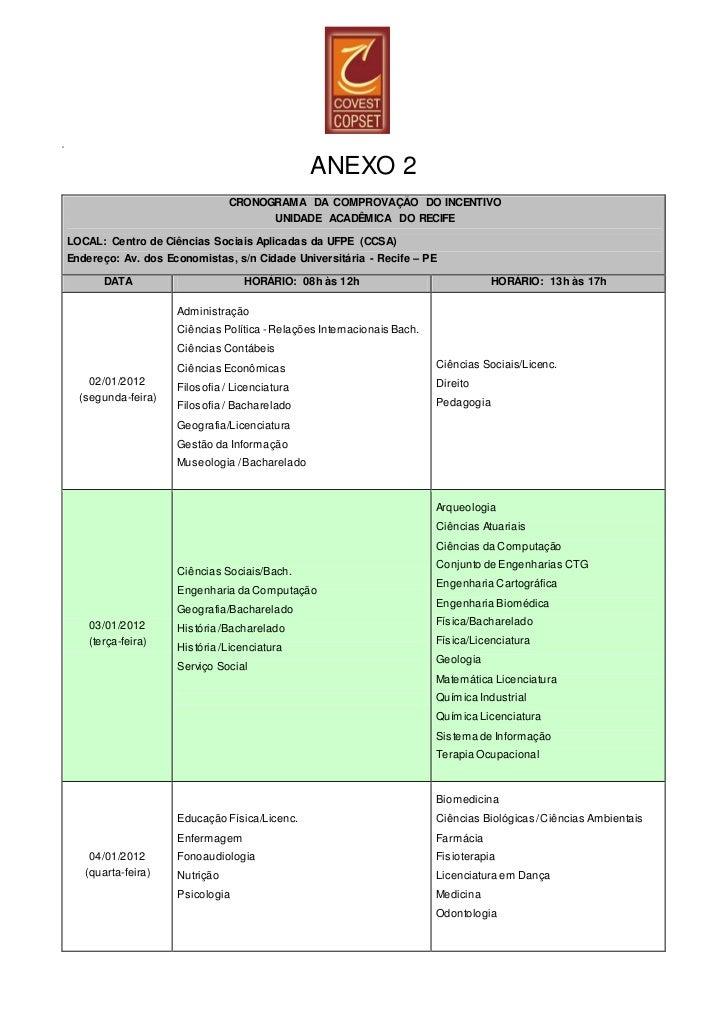 A                                                   ANEXO 2                                   CRONOGRAMA DA COMPROVAÇÃO DO...