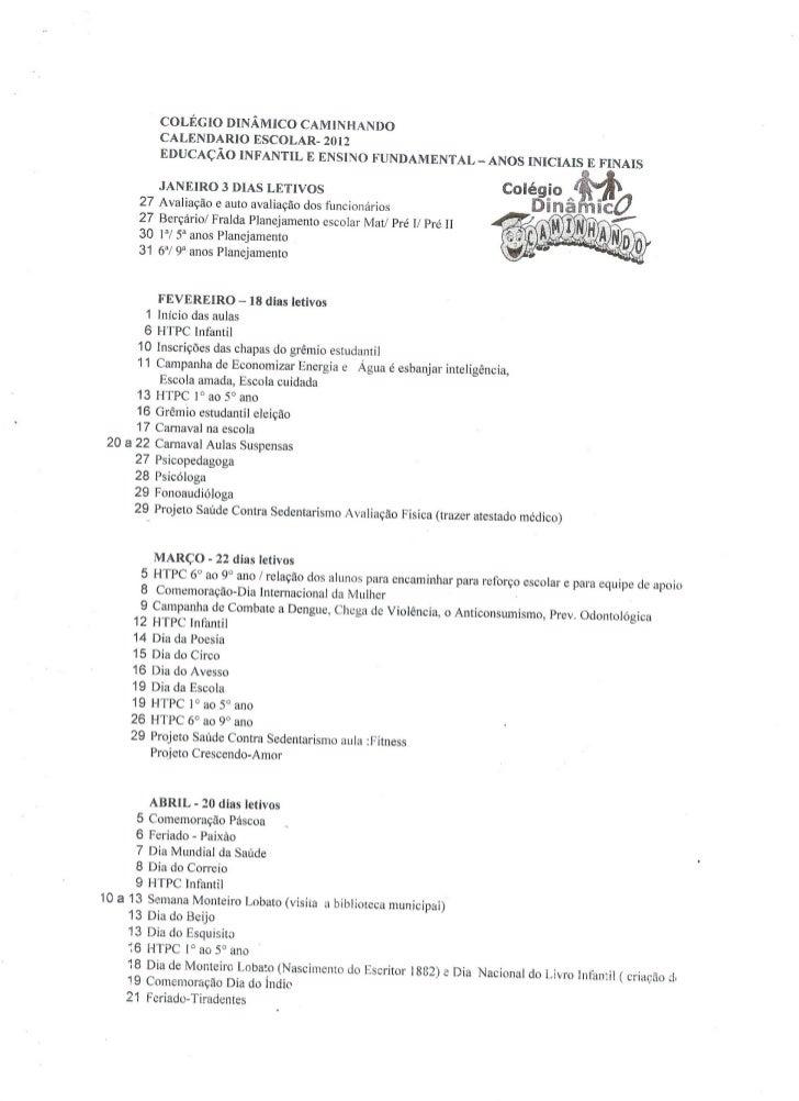 Calendário Anual 2012 da escola