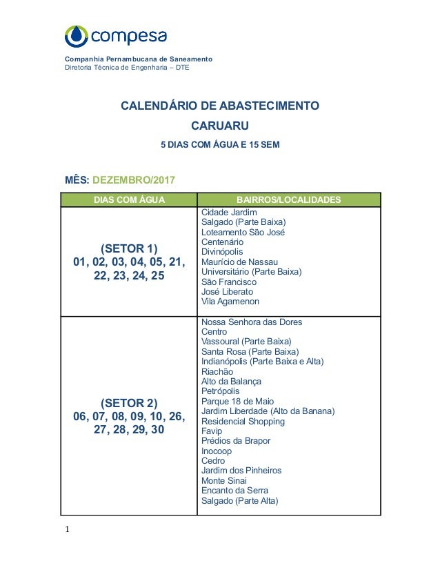 Calendário De Abastecimento Para Dezembro Em Caruaru