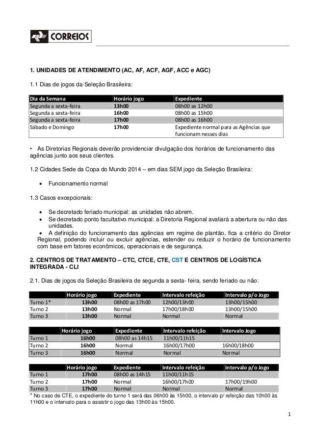 1 1. UNIDADES DE ATENDIMENTO (AC, AF, ACF, AGF, ACC e AGC) 1.1 Dias de jogos da Seleção Brasileira: Dia da Semana Horário ...