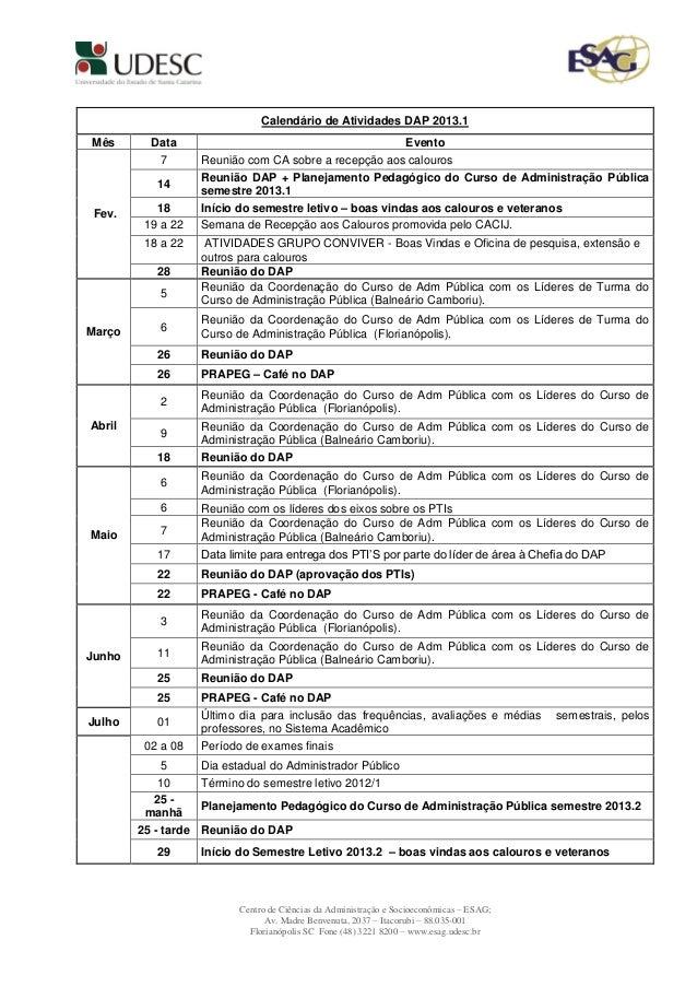 Calendário de Atividades DAP 2013.1Mês       Data                                                    Evento           7   ...