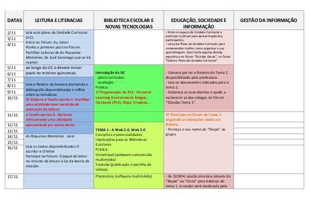 DATAS         LEITURA E LITERACIAS                      BIBLIOTECA ESCOLAR E               EDUCAÇÃO, SOCIEDADE E          ...