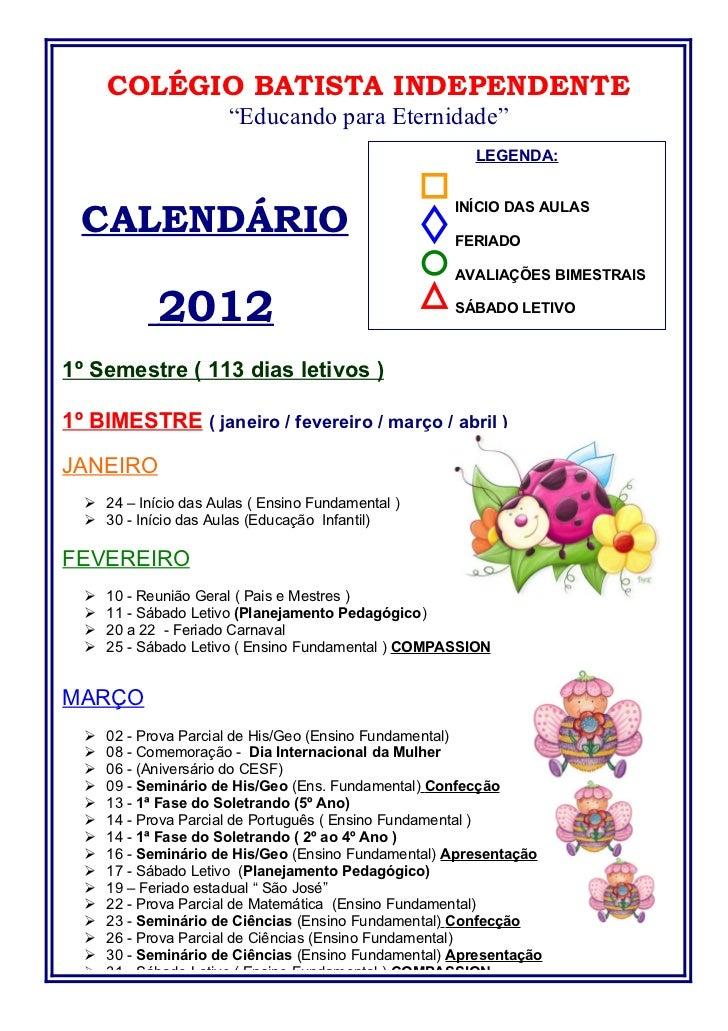 Calendário educação infantil e fundamental