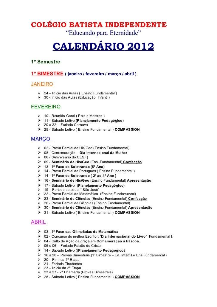 Calendário educação infantil e fundamental 2