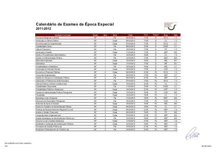 Calendário de Exames de Época Especial                                  2011-2012                                         ...