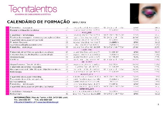 Calendário formação 2012 2013