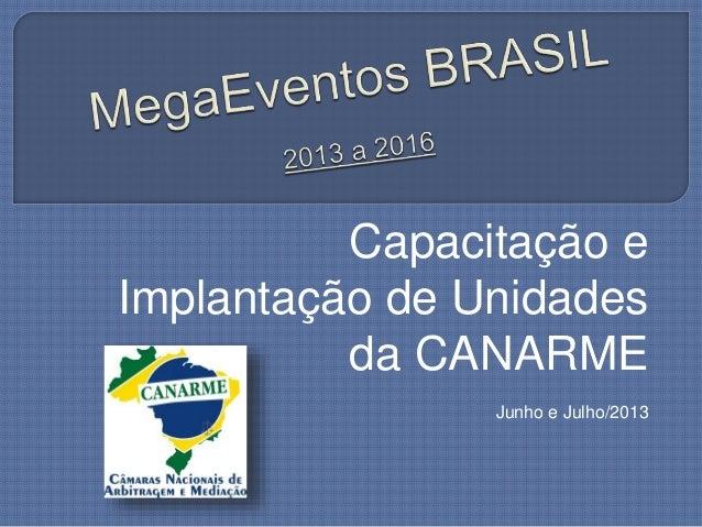 Capacitação e Implantação de Unidades da CANARME Junho e Julho/2013