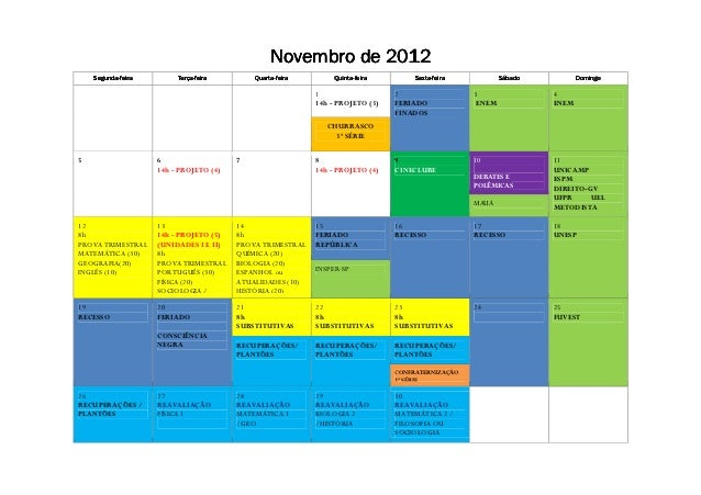 2012                                                 Novembro de 2012    Segunda-    Segunda-feira        Terça-          ...