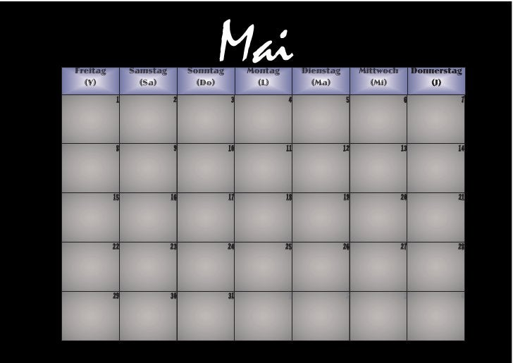 Freitag   (V)                Samstag                  (Sa)                                    Mai                         ...