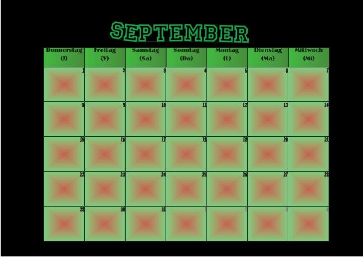 September Donnerstag       Freitag        Samstag        Sonntag        Montag        Dienstag        Mittwoch    (J)     ...
