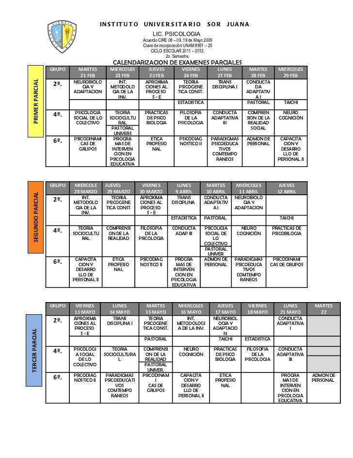 Calendario de examenes parciales  ENE- JUNIO 2012