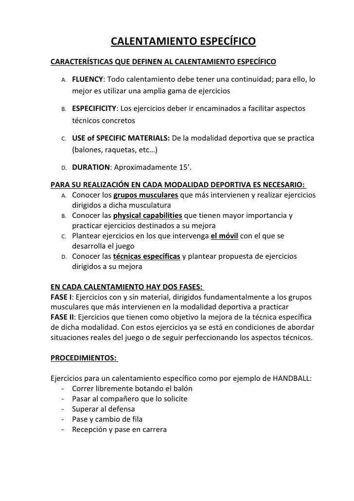 CALENTAMIENTO ESPECÍFICO CARACTERÍSTICAS QUE DEFINEN AL CALENTAMIENTO ESPECÍFICO     A.   FLUENCY: Todo calentamiento debe...