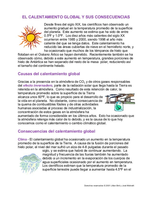 Derechos reservados © 2001 Lillian Bird y José Molinelli EL CALENTAMIENTO GLOBAL Y SUS CONSECUENCIAS Desde fines del siglo...