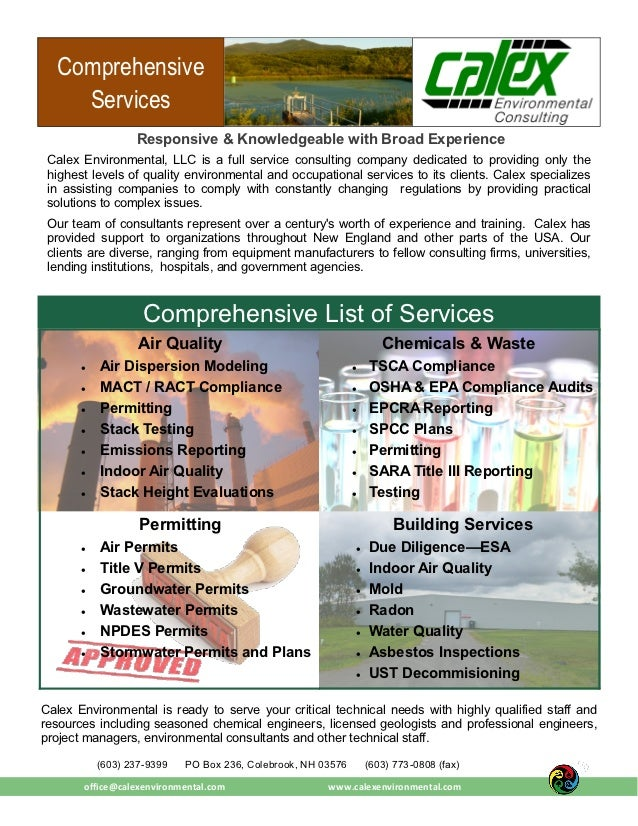 Comprehensive    Services                  Responsive & Knowledgeable with Broad Experience Calex Environmental, LLC is a ...