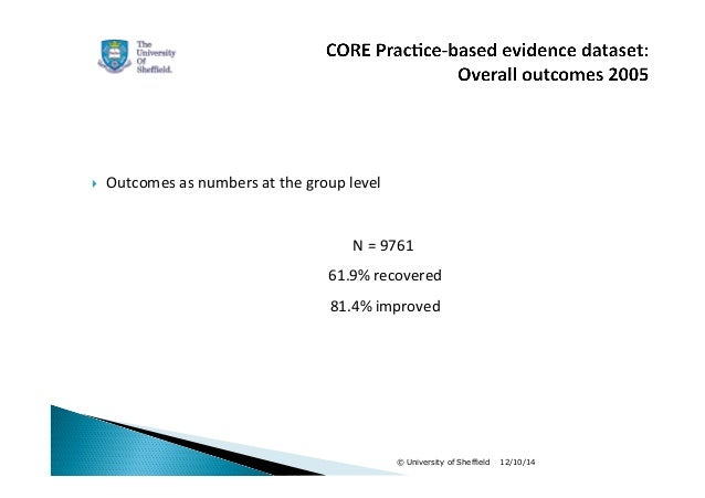  Outcomes  as  numbers  at  the  group  level  N  =  9761  61.9%  recovered  81.4%  improved  © University of Sheffield 1...