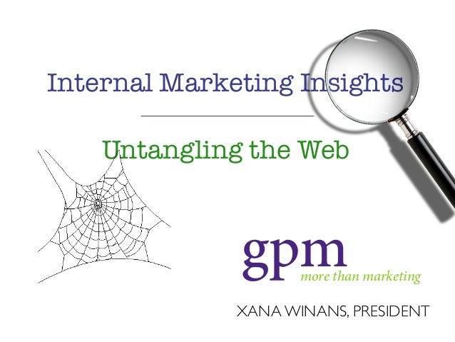 XANA WINANS, PRESIDENT more than marketing gpm Internal Marketing Insights Untangling the Web