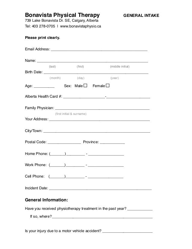 Physical Assessment Form. Posted By Ellahpepper Physical Therapy ...