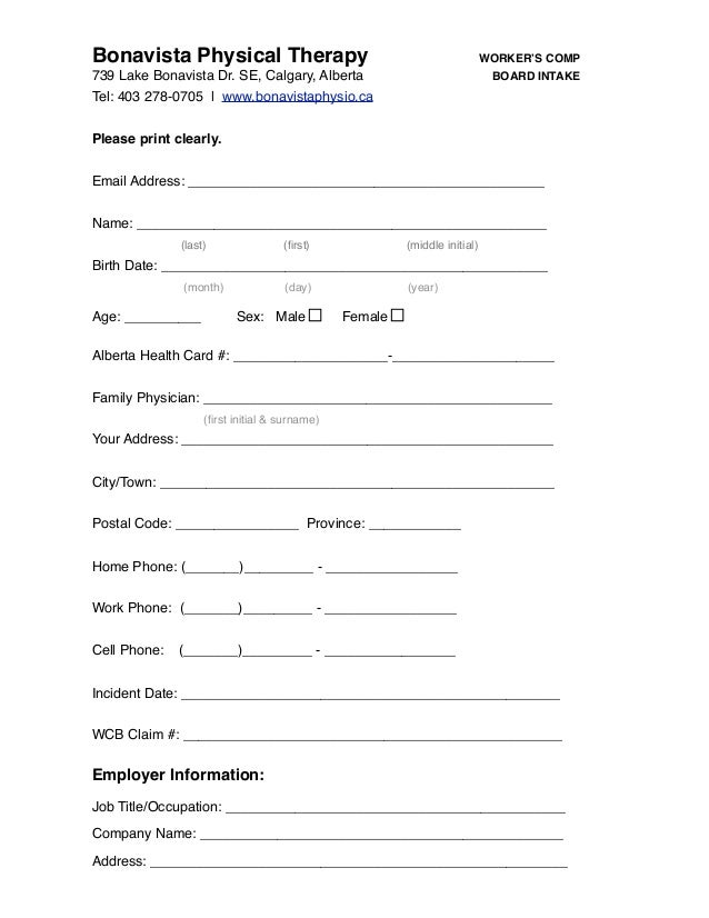 Calgary Physiotherapy - Workers Compensation Intake Form