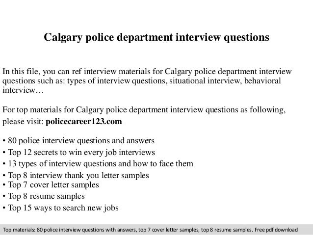 Calgary police department interview questions copy