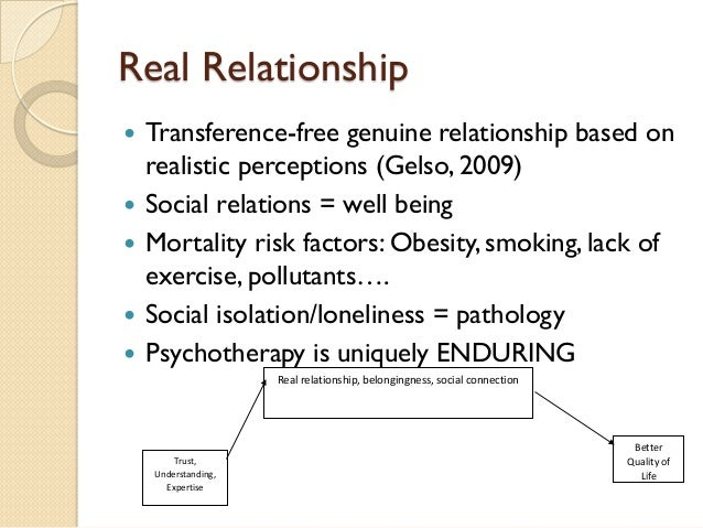 Real Relationship    Transference-free genuine relationship based on realistic perceptions (Gelso, 2009)    Social relat...