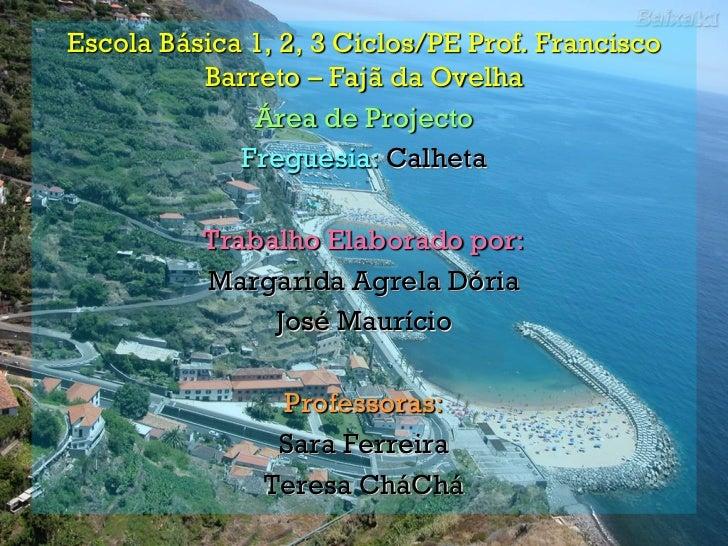 Escola Básica 1, 2, 3 Ciclos/PE Prof. Francisco          Barreto – Fajã da Ovelha              Área de Projecto           ...