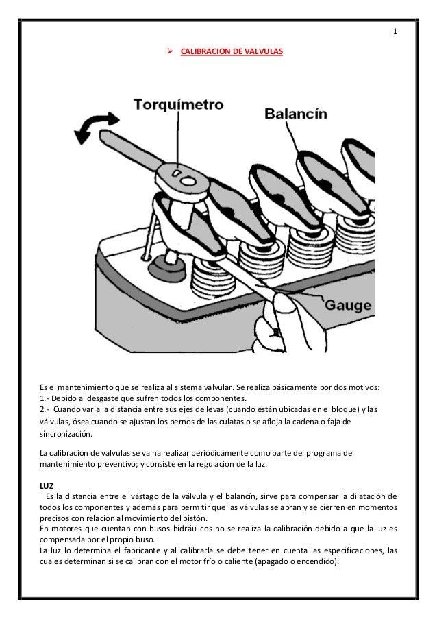 1  CALIBRACION DE VALVULAS Es el mantenimiento que se realiza al sistema valvular. Se realiza básicamente por dos motivos...