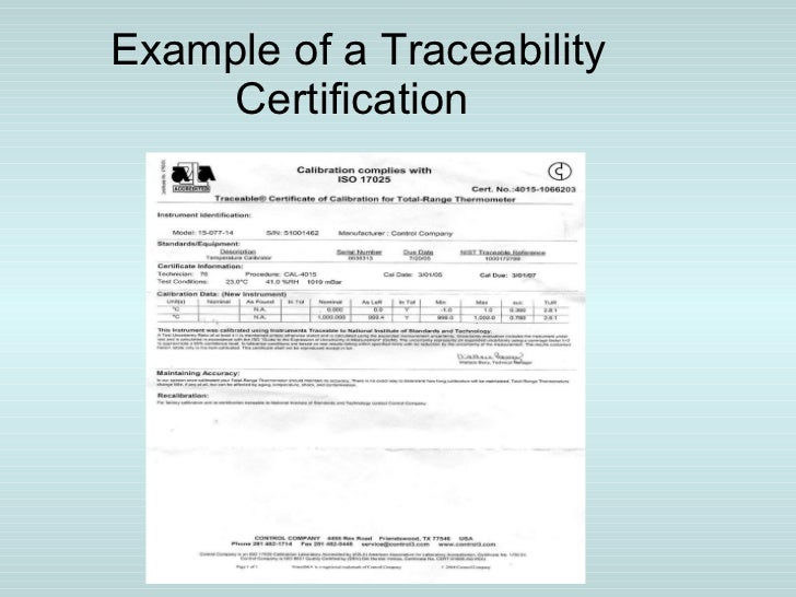 30 example of a traceability certification