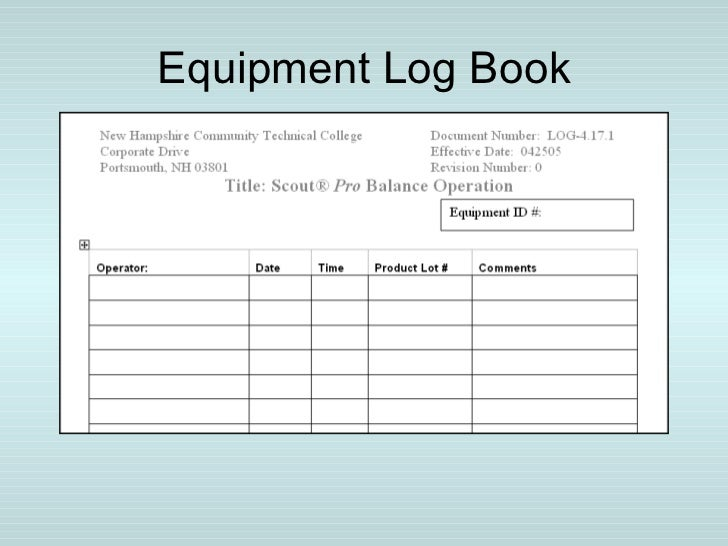 Calibration management system for Equipment log book template