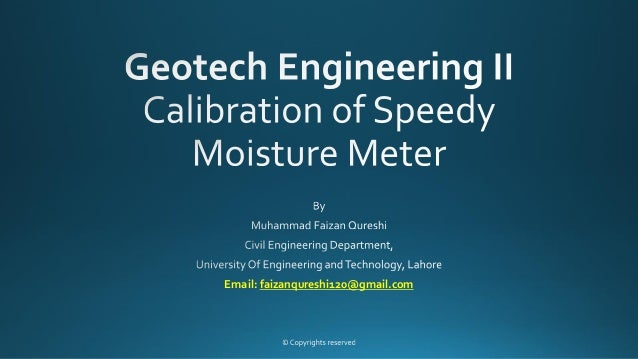 calibration of speedy moisture meter