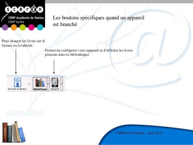 13CDDP de la MayenneCDDP de la Sarthe – juin 2013Les boutons spécifiques quand un appareilest branchéPour charger les livr...