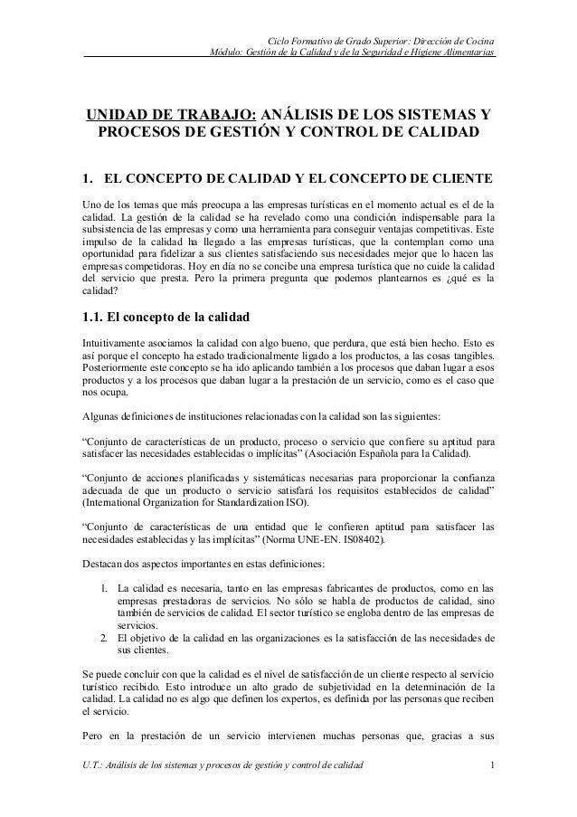 Ciclo Formativo de Grado Superior: Dirección de Cocina                                 Módulo: Gestión de la Calidad y de ...