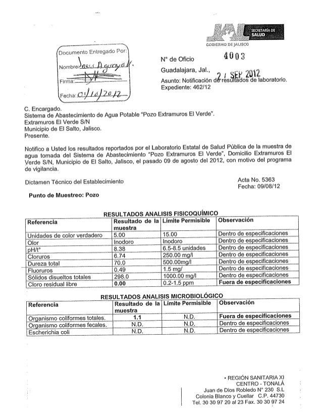 Calidad de Agua Municipio El Salto, estado de Jalisco, Julio 2013  INFOPLACITUM