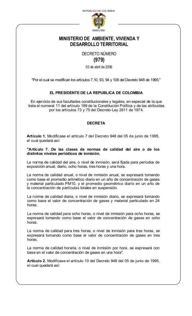 """REPÚBLICA DE COLOMBIA MINISTERIO DE AMBIENTE, VIVIENDA Y DESARROLLO TERRITORIAL DECRETO NÚMERO (979) 03 de abril de 2006 """"..."""