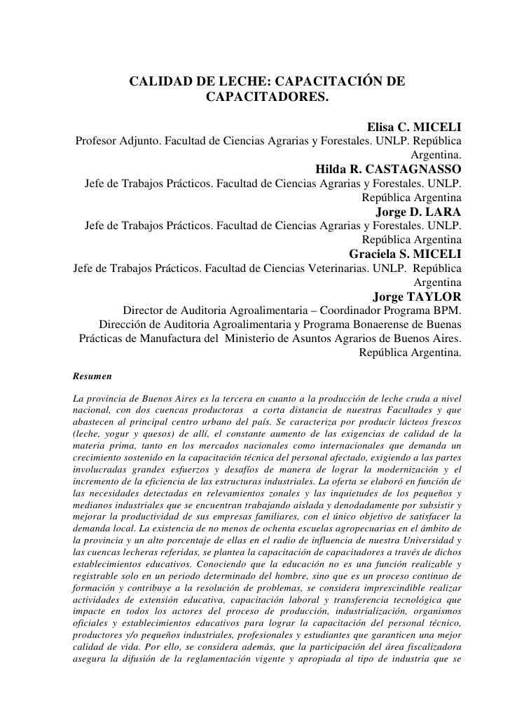CALIDAD DE LECHE: CAPACITACIÓN DE                       CAPACITADORES.                                                    ...