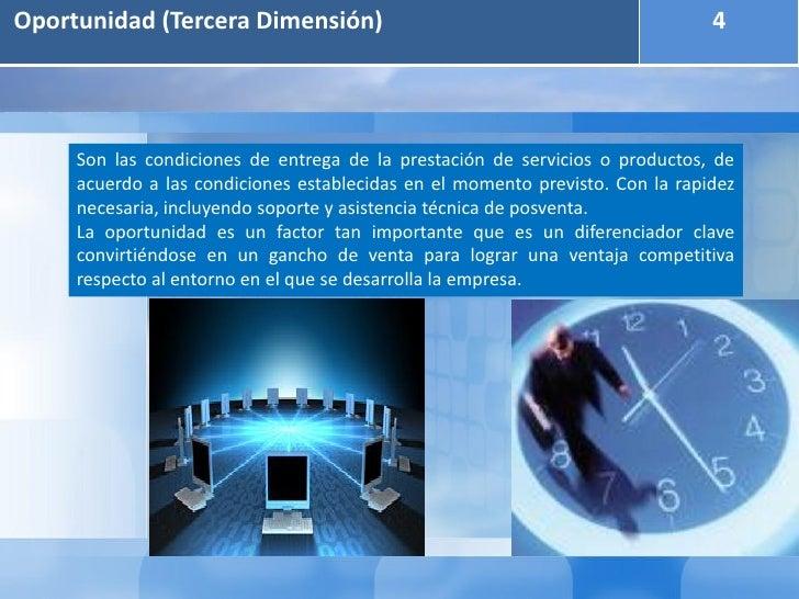 Oportunidad (Tercera Dimensión)                                                4     Son las condiciones de entrega de la ...