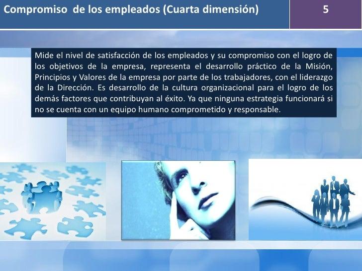 Compromiso de los empleados (Cuarta dimensión)                                      5     Mide el nivel de satisfacción de...