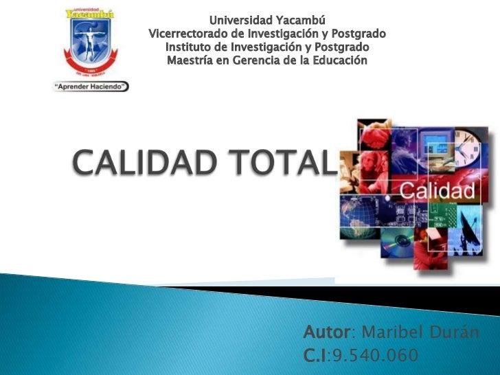Universidad YacambúVicerrectorado de Investigación y Postgrado   Instituto de Investigación y Postgrado   Maestría en Gere...