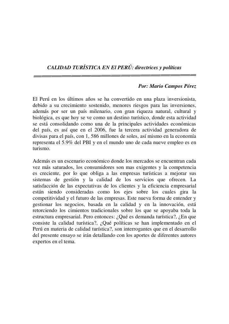CALIDAD TURÍSTICA EN El PERÚ: directrices y políticas                                                 Por: Mario Campos Pé...